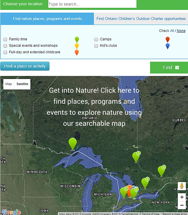 Image of activities, places, and programs for outdoor adventure leading to our searchable web map
